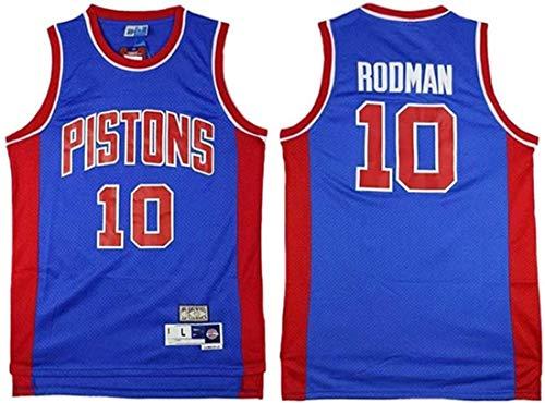 ATI-HSKJ Jersey di Pallacanestro NBA, Pistoni di Detroit Dennis Rodman # 10 Maglie Swingman Tessuto Traspirante Tessuto Cool Abbigliamento Serbatoio,B,XXL(185~190cm/95~110kg)