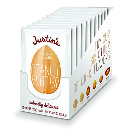Justin's Classic Peanut Butter Squeeze Packs, Only Two Ingredients, Gluten-free, Non-GMO, Responsibly Sourced, Pack of 10 (1.15oz each)