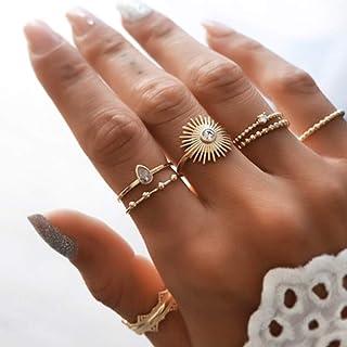 كلاري بوهو خاتم ذهبي مجموعة الأحجار الكريمة خواتم الاصبع كريستال منتصف المفاصل خواتم مجوهرات للنساء والفتيات 7 قطع