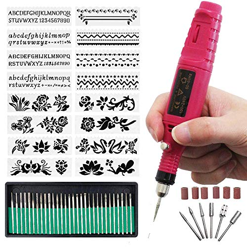 Incisore elettrico penna per incisione, mini incisione fai da te, kit di utensili con punta diamantata da incidere su metallo, vetro, ceramica, legno, pietra (rosso) 60