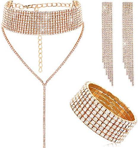 Women Crystal Jewelry Set Bridal Wedding Rhinestone Choker Bracelet Dangle Earrings Gold product image
