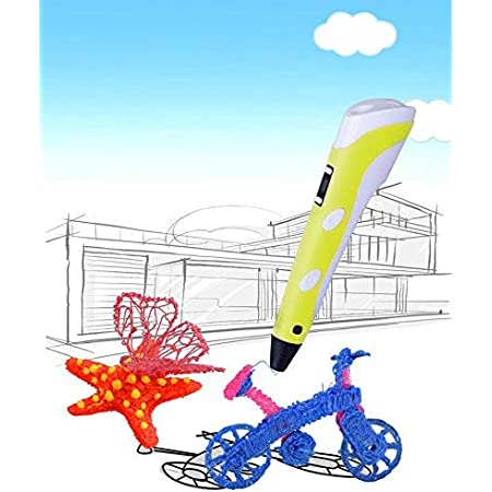 DOMO 3D Printing Pen nScribe Build Star+ Plus 3D Doodling Printer Scribbler Pen with LCD for 1.75mm PLA and ABS - with Free Sample Filaments (Yellow)