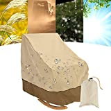 Patio Rocking Chair Cover 210D Outdoor Furniture Protector Rocker Chair Cover with Premium Waterproof Fabric Indoor Outdoor All-Weather Protection