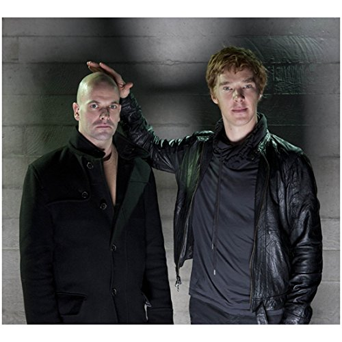 Benedict Cumberbatch Smiling While Holding His Hand on Bald Friend 8 x 10 Photo