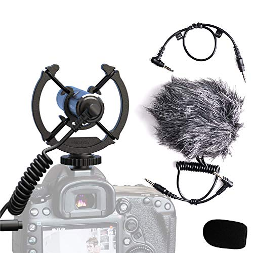 Mirfak Camera Microphone Highly Directional Shotgun Mic 3.5mm for Video, Vlogging, Youtuber Compatible with DSLR, Camcorers, PCs, Audio Recorders and iPhone Android Smartphone