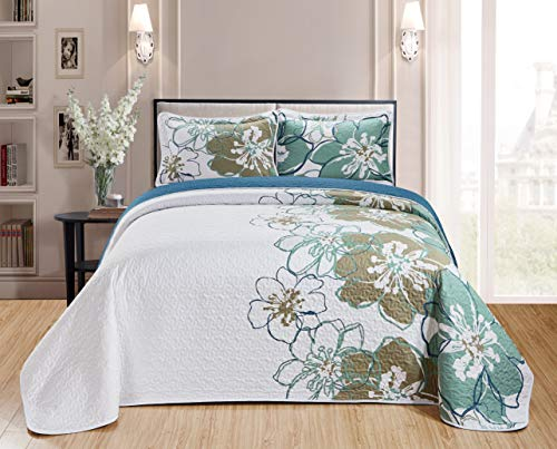 Better Home Style 2 Piece Luxury Modern Floral Flowers Printed Design Quilt Coverlet Bedspread Bed Cover Set # AHF1 (Green, Twin/Twin XL)