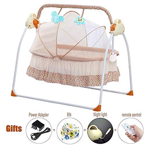 CBBAY Electric cradle Baby swing bed Automatic basket rocking bassinet newborn crib rocker(Pink)