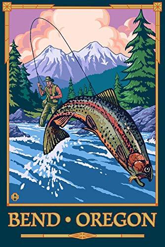 Bend, Oregon, Angler Fly Fishing Scene 95600 (12x18 Art Print, Wall Decor Travel Poster)
