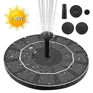 Maxesla Solar Fuente Bomba – 1.4W Bomba de Agua Solar con 4 boquillas Bomba Flotante con Panel Solar,para Pequeño…