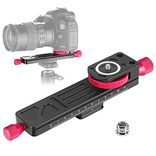 Neewer All Metal Wormdrive Macro Focusing Focus Rail Slider/Close-up Shooting Clamp Plate: 115mm Adjustment with 1/4 inch Screw Head for DSLR Cameras,Tripod Ballhead, Arca/RRS Lever Clamp Compatible