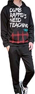 Mogogo Men's Hood Casual Loose Athletic Letter Printed 2-Piece Pocket Sweatsuit
