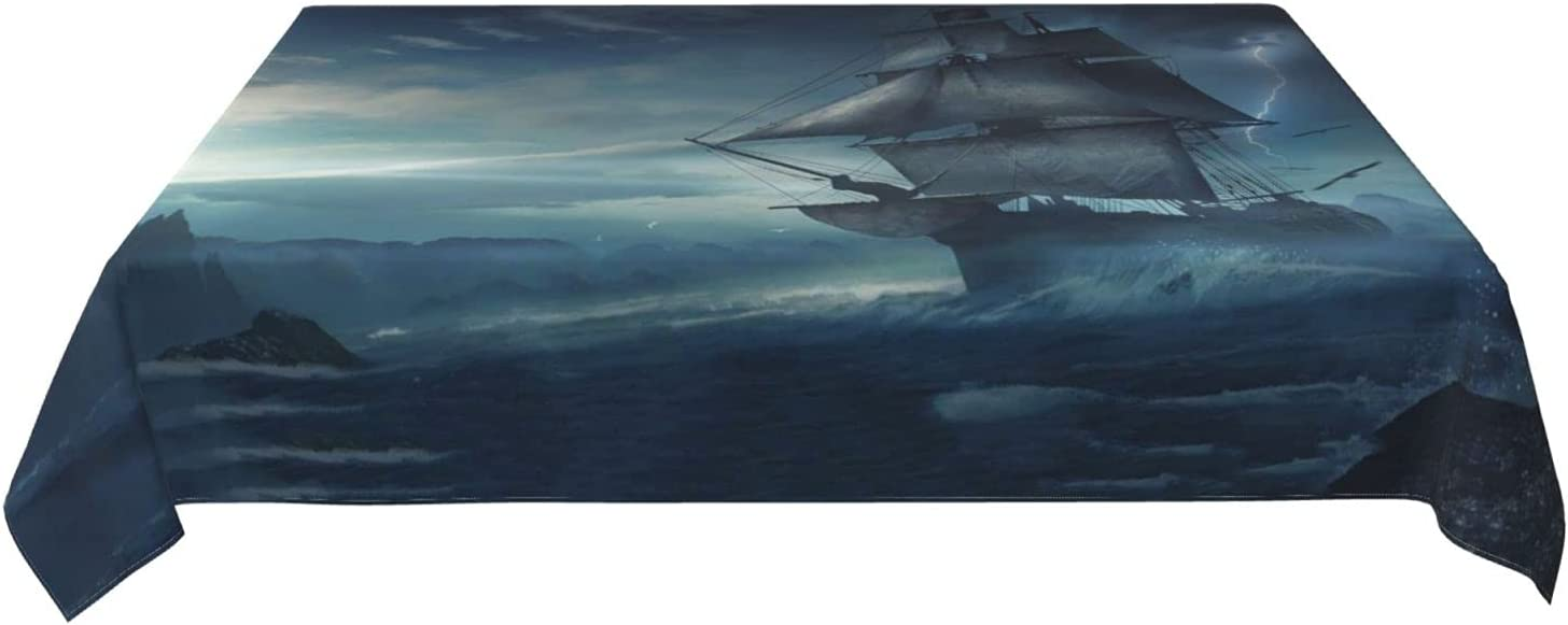Roechneck Pirate Ship Blue Design Wholesale Tableclothsï Sky Max 64% OFF Waterproof