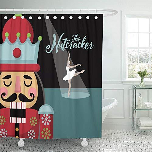 None brand Bunte Ankündigung Weihnachten Nussknacker Cartoon Holzsoldat aus dem Ballett Ballerina Duschvorhänge wasserdicht mit Haken-B120xH180cm