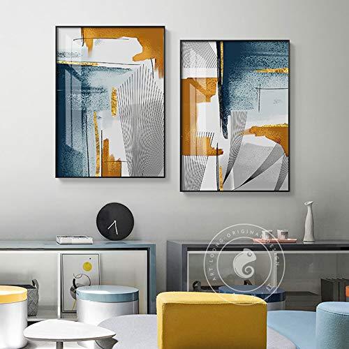 N / A Rahmenlose Malerei Abstrakte Wandmalerei Leinwand Farbe und Linie Kombination Poster Licht Hauptdekoration WandbildZGQ7016 30X40cmx2