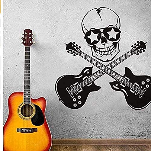 Cool Creative Design Wall Sticker Skull and Guitar Art Vinyl Bedroom Decoration Wall Painting Guitar Rock Silhouette Wall Decal 5959cm