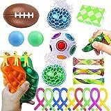 Ensemble de jouets Sensoriels Fidget Push Pop Bubble Toys Lot de 26, Lot de jouets à main Anti-stress Anxiété Autisme pour Enfants et adultes Balle arc-en-ciel, rugby, puzzle cube, corde extensible