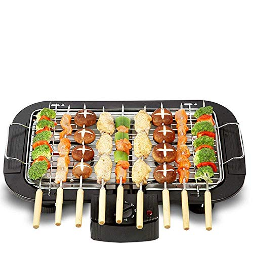 Juxori Electric Barbecue Grill, Smoke Free BBQ Grill Machine   Electronic PAN with Power Indicator Light - BBQ Grill Tandoori Maker, Removable Water Filled Drip Tray (Black, 2000W)