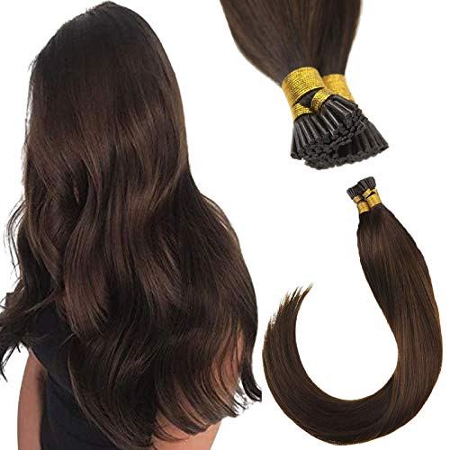 Sunny Pre Bonded Hair Extensions-Fusion I Tip Hair Extensions Human Hair Medium Brown (Color #4) Silky Straight Remy Human Hair,1g/s,20inch,50G