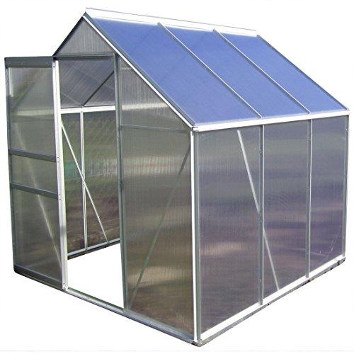 2,5-6,06m² ALU Aluminium Gewächshaus Glashaus Tomatenhaus, 6mm Hohlkammerstegplatten - (Platten Made IN Austria/EU) inkl. Fenster mit autom....*