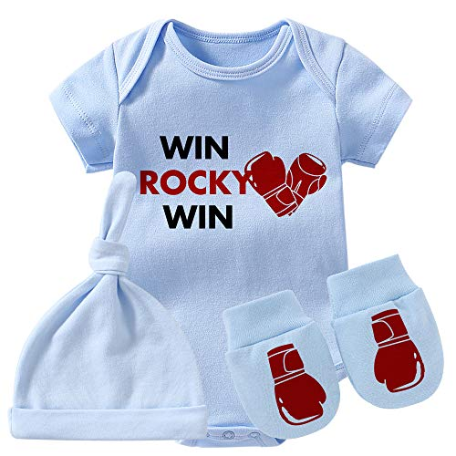 Culbutomind Baby Twins Body Guantoni da boxe Win Rocky Baby Outfit Divertente Pagliaccetto Baby Girl Set Blue Win Rocky Set 6 mesi