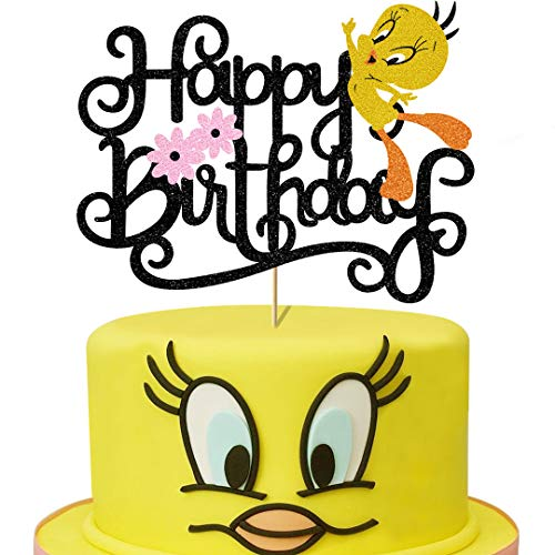 Glorymoment Cute Bird Birthday Cake Topper, Gold Glitter Happy Birthday Sign Cake Topper for Tweety Theme Party Decor Kids Girl Boy Birthday Party Decorations (6.7''x 5.08'')