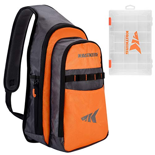 KastKing Pond Hopper Fishing Sling Tackle Storage Bag – Lightweight Sling Fishing Backpack - Sling Tool Bag for Fishing Hiking Hunting Camping,with (1) 3600 Box,17.7x12.6x6 Inches,Orange