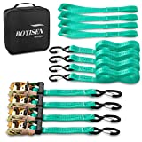 BOYISEN Ratchet Tie Down Straps, UPGRADED 1.5'x 14.8' 4,409lb Break Strength Includes 4x Heavy Duty Tiedowns & Soft Loop Straps with Handles Metal Hooks Better for Moving Appliance, Motorcycle (Green)