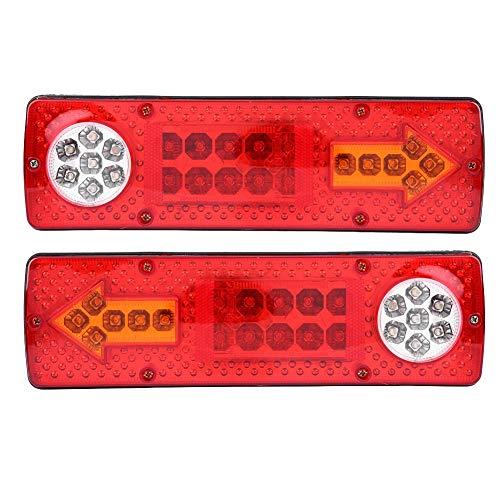 KIMISS 2 pièces 12V Arrêt Indicateur Allumer les Lumières,Luminosité Lampe DEL Arrière pour Frein de Queue arrière pour Remorque camion RV, rouge et jaune et blanc LED