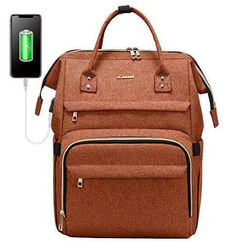 Laptop Backpack Women Teacher Backpack Nurse Bags, 15.6 Inch Womens Work Backpack Purse Waterproof Anti-theft Travel Back Pack with USB Charging Port (Orange)