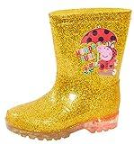 Peppa Pig Botas de agua para niñas con luz dorada y purpurina para niños con luces intermitentes doradas., color Dorado, talla 25 EU