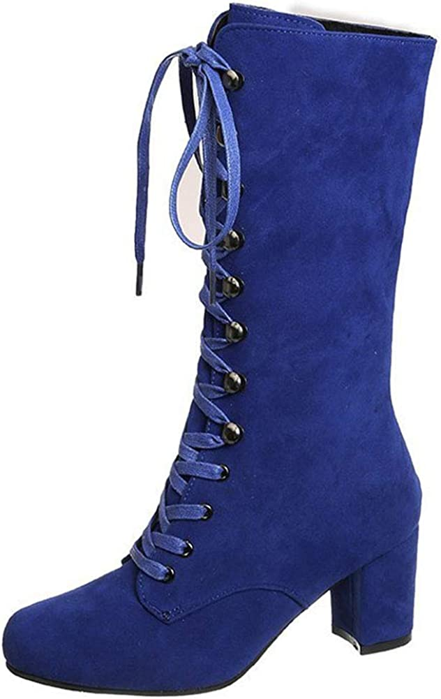 Vimisaoi Knee High Boots for Women Block O Lace Chunky All stores are sold Heels Max 71% OFF Up