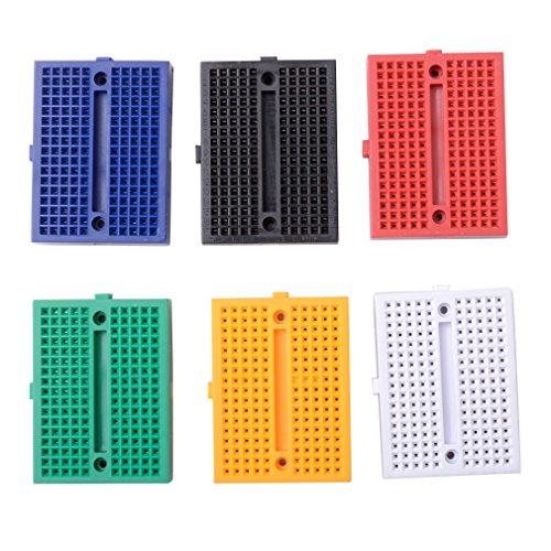 ButDillon 6pcs 170 Points Mini Breadboard Planche à Pain sans Soudure pour Arduino Proto Shield Raspberry Pi Multicolore