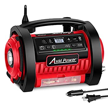 Avid Power Tire Inflator Air Compressor 12V DC / 110V AC Dual Power Tire Pump with Inflation and Deflation Modes Dual Powerful Motors Digital Pressure Gauge
