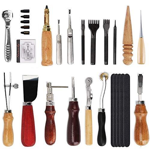 18 piezas de herramientas de punzonado de cuero, para costura, tallar, coser, costura, cuero, manualidades, manualidades, etc