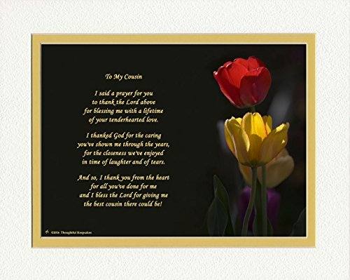 Gift for Cousin with Thank You Prayer for Best Cousin Poem. Red & Yellow Tulips Photo, 8x10 Double Matted. Special Cousin Gift for Christmas, Birthday