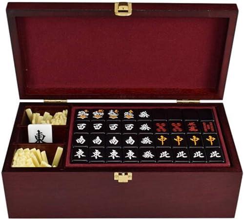 HU Acryl Japanisch Mahjong SchwarzTragbare Haushalts Pers ichkeit Unterhaltung Freizeit P gogisches Spielzeug mit Holz Aufbewahrungsbox