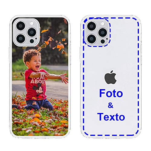 MXCUSTOM Funda Personalizada para Apple iPhone 12 Pro MAX, Carcasa Personalizado Teléfono móvil Transparente con Foto Imagen Texto Diseña [Parachoques Blando+Panel Posterior Dura] (CHT-CR-P1)