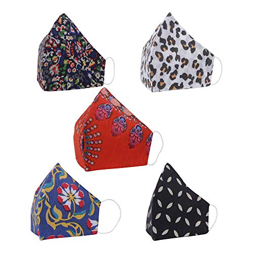 5 Pack Fashionable Designer 100% Cotton Unisex Washable Reusable Face Mask For Dust & Particle Protection, Mouth And Nose Cover Breathable Fabric Multicoloured
