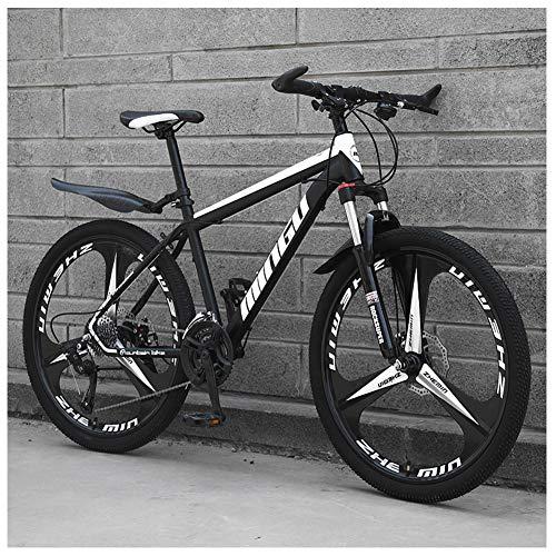 NENGGE 26 Zoll Mountainbike, Scheibenbremsen Hardtail MTB, Trekkingrad Herren Bike Mädchen-Fahrrad, Vollfederung Mountain Bike,24 Speed,Black 3 Spoke