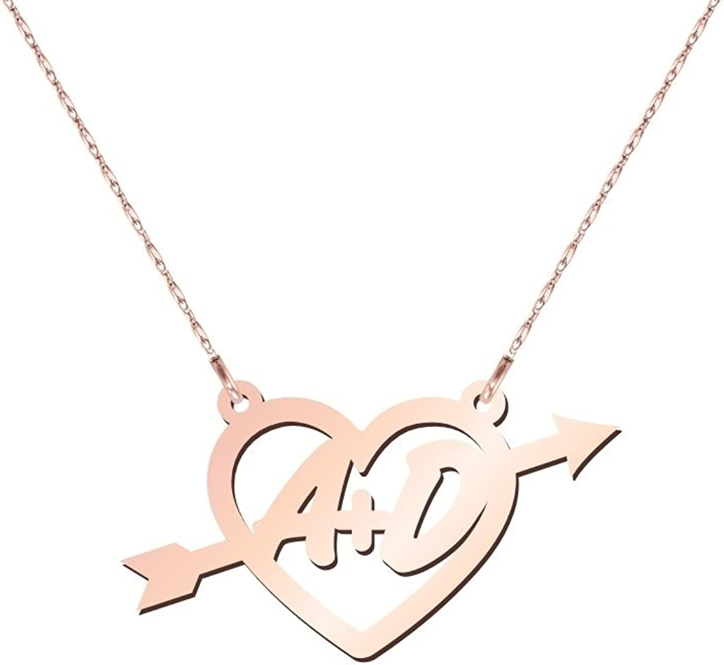 10K Gold Heart & Arrow Two Initial Necklace by JEWLR
