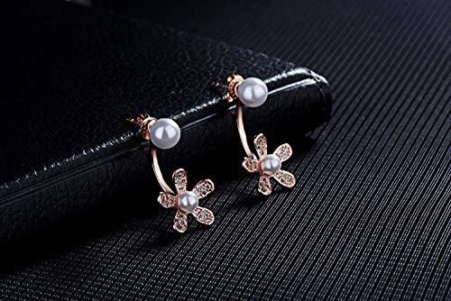 YFZCLYZAXET Pendientes Mujer Pendientes De Plata De Ley para Mujer, Flor De Margarita Y Circonita Cúbica Jewelry-Rose_Gold