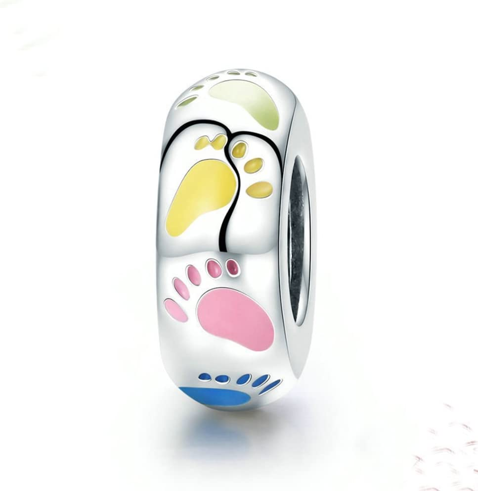 Max 83% OFF Low price Beauty Colorful Footprint Charm 925 Silver Sterling Footm Lovely