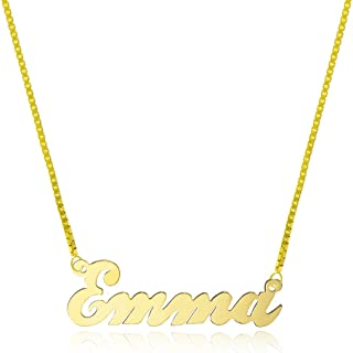 14K Yellow Gold Personalized Name Necklace - Style 2 (18 Inches, Box Chain)