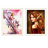 SMART DK 2 Pack 5D DIY Diamond Painting by Number Kits, Crystal Embroidery Cross Stitch Arts Craft for Canvas Wall Decor (2-Pack Girl)