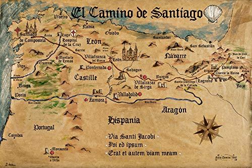 1art1 Camino De Santiago De Compostela - El Camino De Santiago Anno 1445, Jon Mellenthin Póster (120 x 80cm)