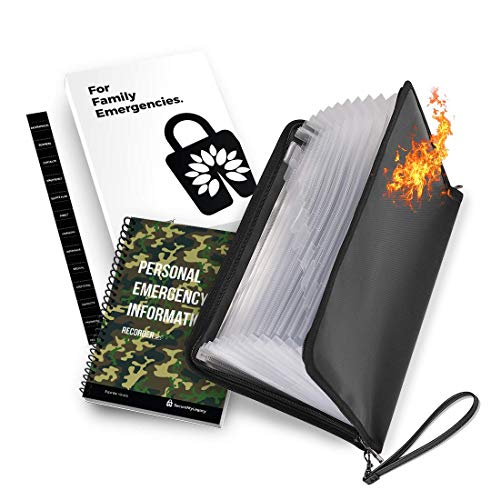 Fireproof & Lockable 13 Pocket File Bag w/ PERSONAL EMERGENCY INFORMATION RECORDER - Family Emergency Workbook (Camouflage) - Record, Organize and Centralize Passwords, Health, Financial, Insurance, Estate Planning Info, Personal Instructions and more