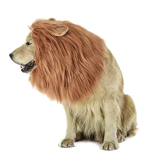 LUUFAN Lion Mane Perücke für Hund mit Ohren Pet einstellbar Phantasie Lion Hair Dog Kleidung Kleid für Halloween Weihnachten Ostern Festival Party Aktivität (Dog-Light Brown)