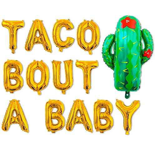 Taco Bout A Baby Balloons Decorations,Fiesta Cactus Baby Shower First 1st Birthday Party Supplies,He or She Gender Reveal Pregnancy Announcement Letter Balloon,Gold