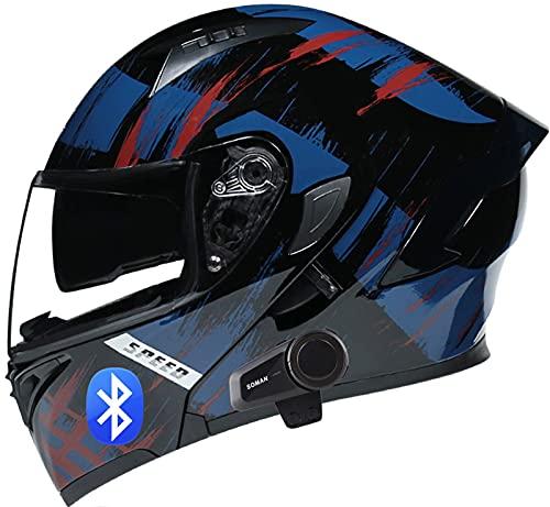 SJAPEX Bluetooth Cascos Flip Up Motocicleta ECE 22-05 Casco Moto Modular con Altavoz Incorporado Doble Visera Anti Niebla HD Reducción de Ruido para Adultos C,XL=61~62cm