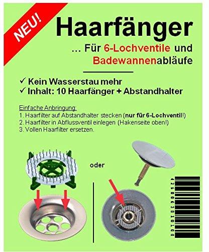 HäkchenRein Haarsieb Haarfänger 10er mit Abstandhalter | Für Waschbecken Badewanne Dusche Waschtisch | Sieb für Abflussventil